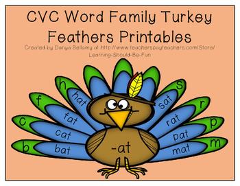 CVC Word Family Turkey Feathers