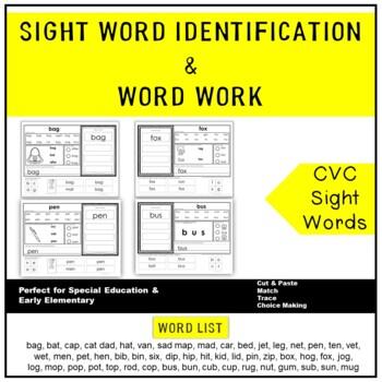 CVC Word Identification & Word Work Printables (Gen Ed., A