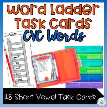 CVC Phonics Word Ladder Task Cards