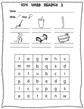 CVC Word Searches (Write & Find) - Short Vowels