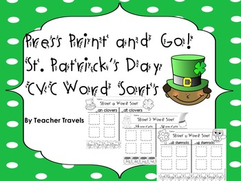 CVC Word Sorts - St Patrick's Day