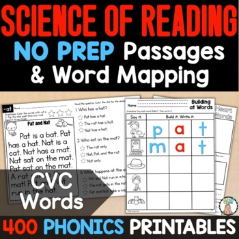 CVC Word Work Cards for Short Vowels