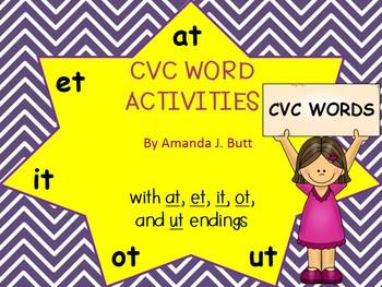 CVC Words; Families at, et, it, ot, ut; Kindergarten; Firs