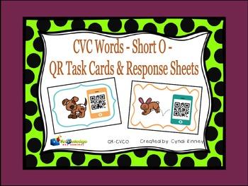 CVC Words - Short O - QR Code Task Cards & Response Sheets