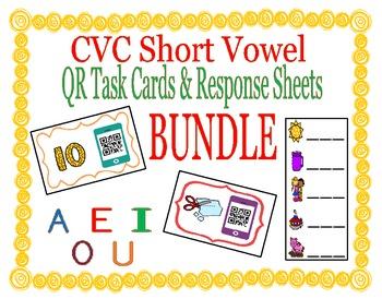 CVC Words Short Vowel QR Code Task Cards & Response Sheets BUNDLE