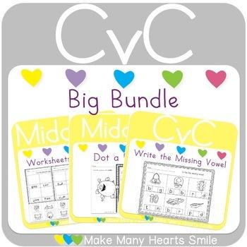 CVC Worksheets and Cards Bundle