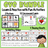 CVC Writing Strips, Posters, Tracing Sheets and Task Card Puzzles