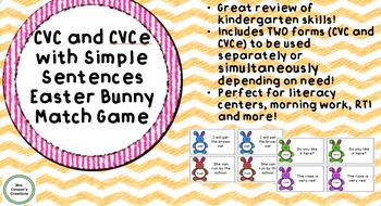 CVC and CVCE Words with Simple Sentences Easter Bunny Match Game
