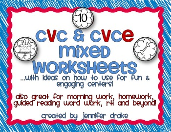 CVC and CVCe Mixed Worksheets! ~10 Sheets; 6 pictures per