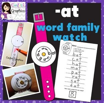 Interactive CVC -at Word Family Watch Craftivity Craft Activity