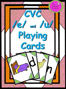 CVC /e/ and /u/  Playing Cards
