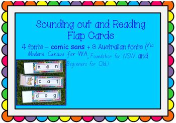 CVC phonics and reading FLAP CARDS - 30 cards AUSTRALIAN F