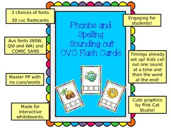 CVC phonics spelling DIGITAL FLASHCARDS - 30 cards AUSTRAL