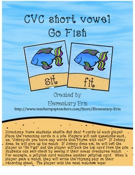 CVC short vowel Go Fish with recording sheet & self-check