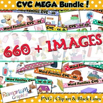 CVC short vowel clip art Bundle