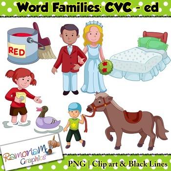 CVC short vowel ed clip art