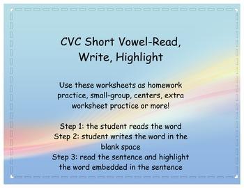 CVC short vowel-read, write, highlight