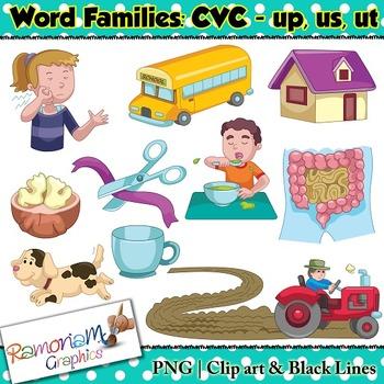 CVC short vowel up, us & ut clip art