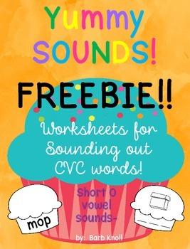 CVC word FREEBIE!!  Yummy Sounds!