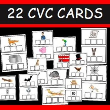 CVC word cards- 22 cards- Fill in the missing letters
