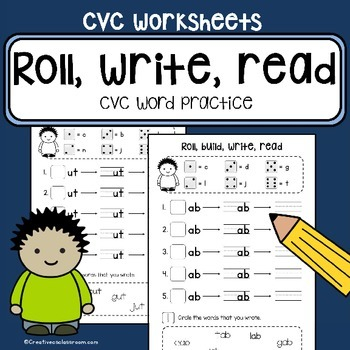 CVC word family practice - Roll, build, write, read - lite