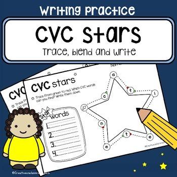 CVC word work blending + writing practice - star worksheet