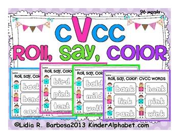 CVCC Words Roll, Say, Color Gametivity