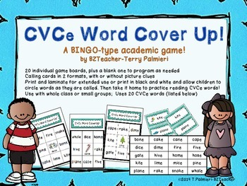 CVCe BINGO Style Word Cover Up