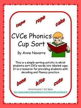 CVCe Phonics Cup Sort