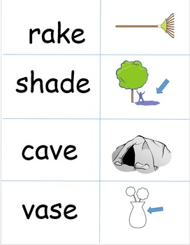 CVCe Picture and Word Match Cards for Long A, I, O, and U