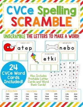 CVCe Spelling Scramble - Unscramble the letters to make CV