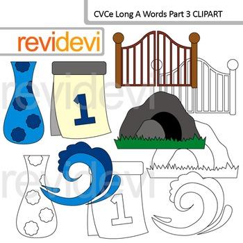 CVCe long A clip art words Part 3