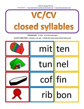 VC/CV 2 syllable card match with worksheet