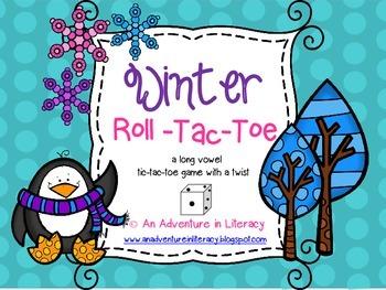 CVVC CVCe Long Vowel Winter Tic Tac Toe Games