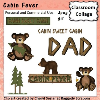 Cabin Fever - Color - pers & commercial use Bear Cabin Sign