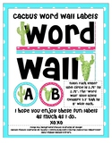 Cactus Word Wall Title and Labels