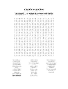 Caddie Woodlawn Ch. 1-5 Vocabulary Word Search - Brink