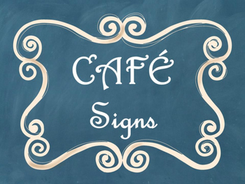 Cafe Daily 5 Bulletin Board Posters/Signs (Blue Chalkboard