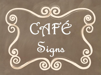 Cafe Daily 5 Bulletin Board Posters/Signs (Brown Chalkboar