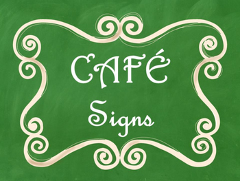 Cafe Daily 5 Bulletin Board Posters/Signs (Green Chalkboar