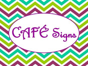 Cafe Daily 5 Bulletin Board Posters/Signs (Purple Green Ch
