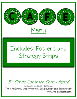Cafe-themed CAFE Menu 3rd CCSS Aligned