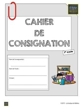 Cahier de consignation du 1er cycle (PDF – Formulaire auto