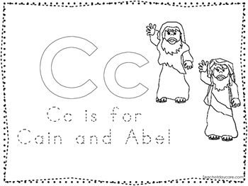Cain and Abel Color and Trace Worksheet. Preschool-Kinderg