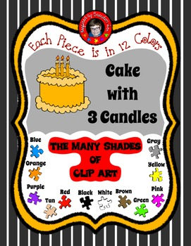 Cake with 3 Candles in 12 colors ~ Commercially Friendly C
