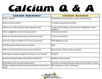 Calcium Question and Answer Match