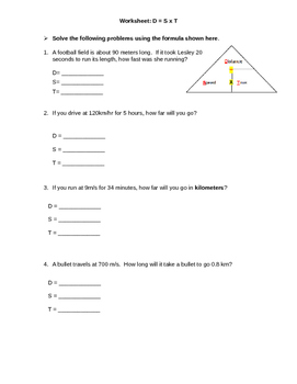 Worksheet: Calculating Distance =  Speed x Time