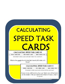 Calculating Speed Practice Task Cards (15) Speed, Distance