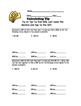 Calculating Tip Worksheet