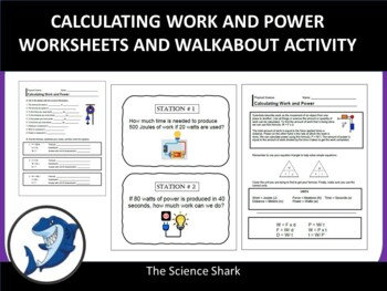 Calculating Work and Power - Handouts and Activity